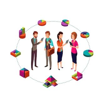 Analista de negócios isométrica vector conceito moderno com equipe de empresário e gráficos 3d