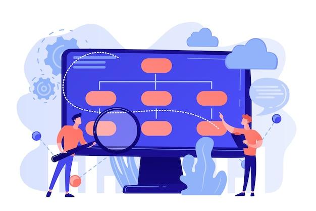 Analista de pessoal minúsculo e cientista de dados que trabalha com dados. modelo de negócios baseado em dados, estratégias de dados abrangentes, novo conceito de modelo econômico