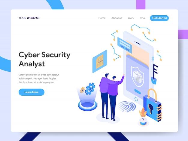 Analista de segurança cibernética isométrico para a página do site