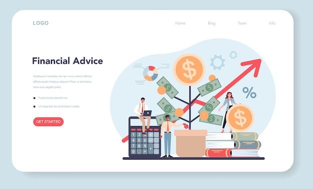 Analista financeiro ou consultor de banner ou página de destino