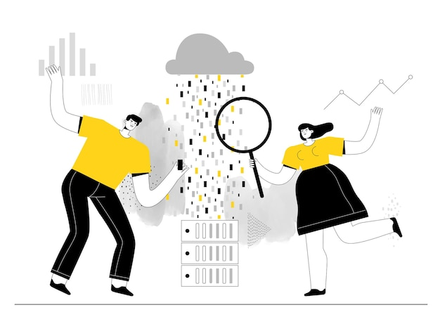 Analistas de big data, homens e mulheres, estudam informações sobre servidores e armazenamento em nuvem
