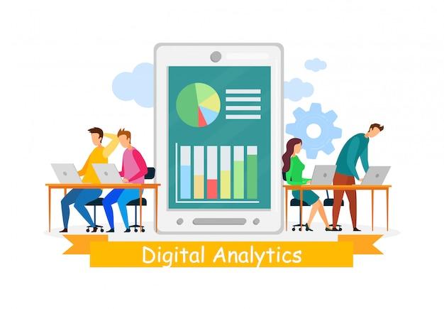 Analistas digitais coworking ilustração
