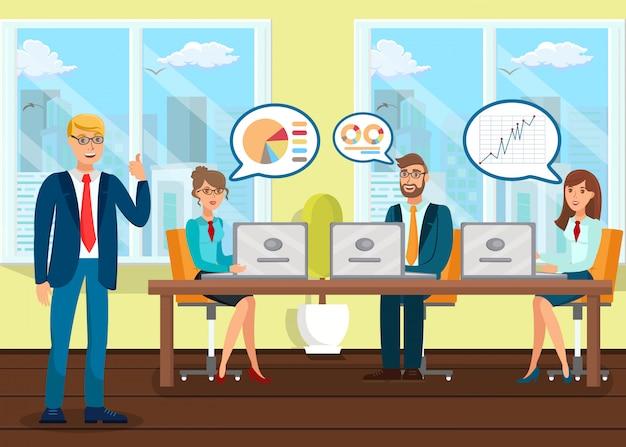 Analistas na ilustração plana de conferência de negócios