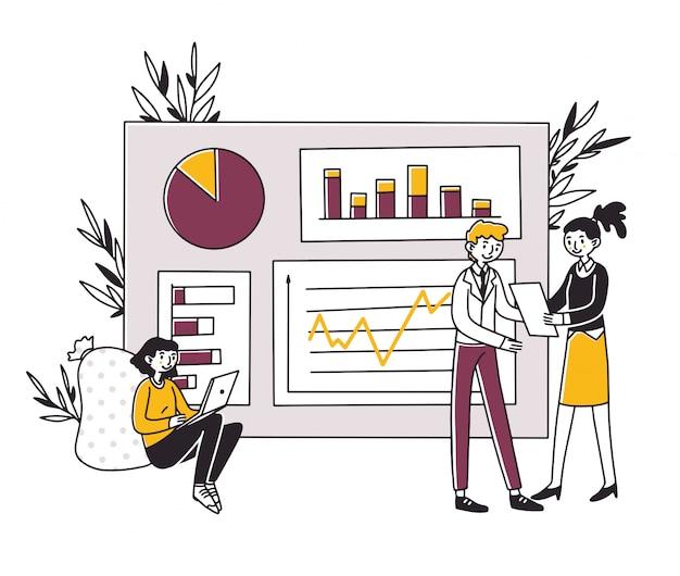 Analistas que desenvolvem estratégia de marketing