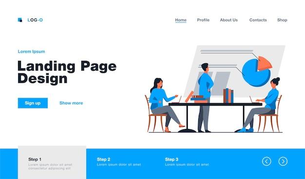 Analistas trabalhando juntos e discutindo o gráfico. empresa, funcionário, ilustração plana de mesa. conceito de trabalho em equipe e estatísticas, design do site ou página inicial da web