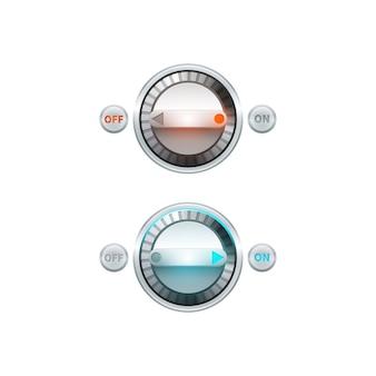 Analógico redondo no set de botão de desligar