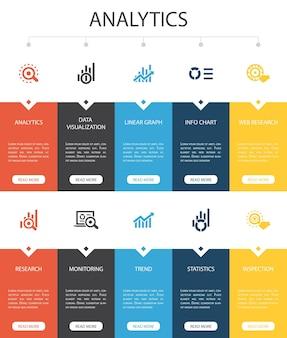 Analytics infográfico 10 opção ui design.linear graph, pesquisa na web, tendência, monitoramento de ícones simples