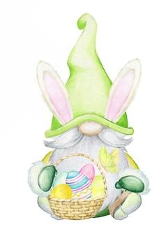 Anão bonito segurando uma cesta de ovos de páscoa. estilo cartoon aquarela