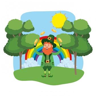 Anão homem juggle ao ar livre arco-íris