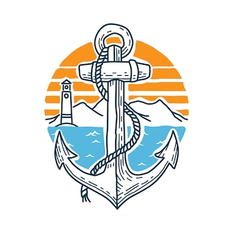 Anchor mar natureza selvagem ilustração arte design