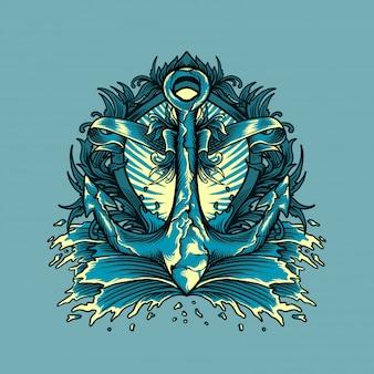 Anchor marinho com ilustração de ornamento