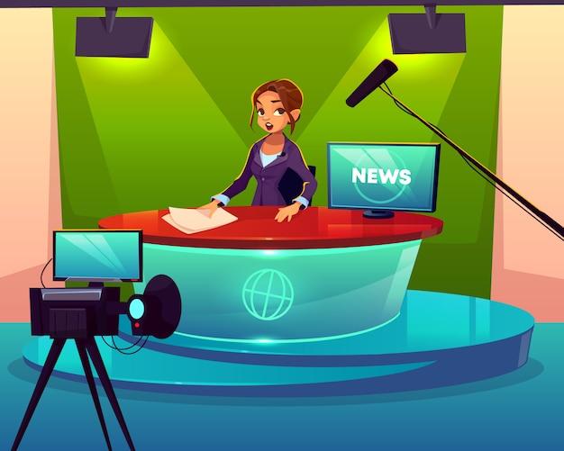Anchorwoman em desenhos animados do estúdio do canal de televisão.