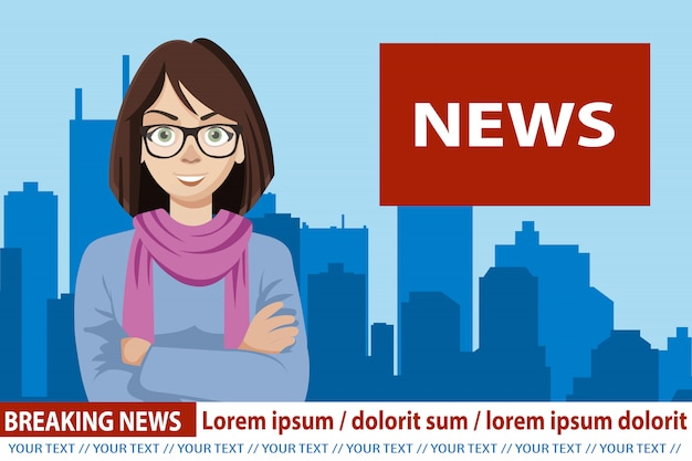 Anchorwoman em notícias de transmissão de tv