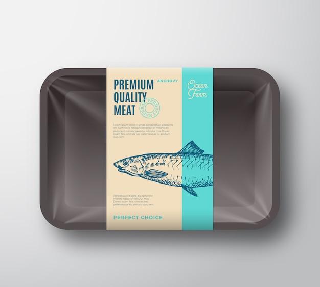 Anchova de qualidade premium. bandeja plástica dos peixes abstratos do vetor com etiqueta do projeto de empacotamento da tampa do celofane.