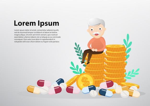 Ancião que senta-se no conceito das moedas, do negócio e dos cuidados médicos.