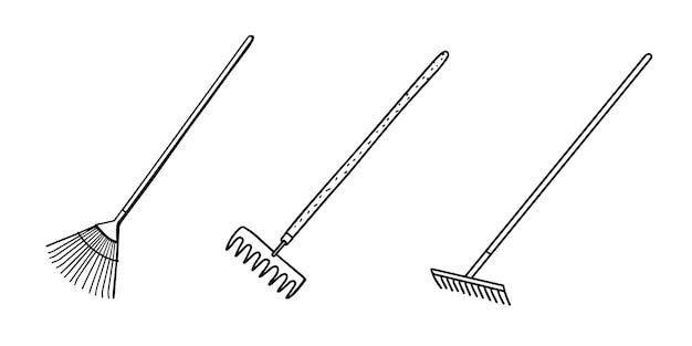 Ancinho de terra para soltar o solo. ilustração vetorial no estilo doodle
