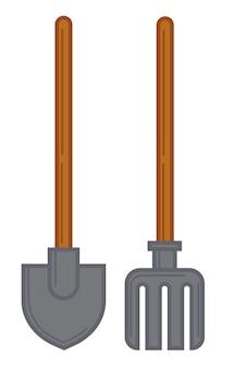 Ancinho e pá, espátula e garfo, instrumentos e ferramentas isolados para jardinagem e cuidado do jardim. agricultura ou horticultura, sachadoras ou pá de metal e madeira. vetor em estilo simples