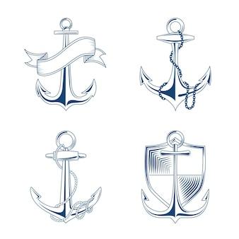 Âncora com corda e ilustração conjunto de corrente. emblemas âncoras com escudo e fita
