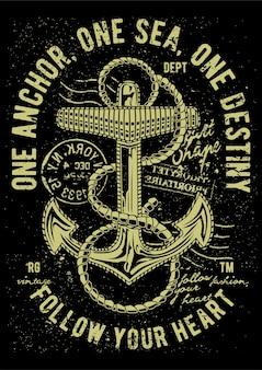 Âncora da marinha, pôster de ilustração vintage.