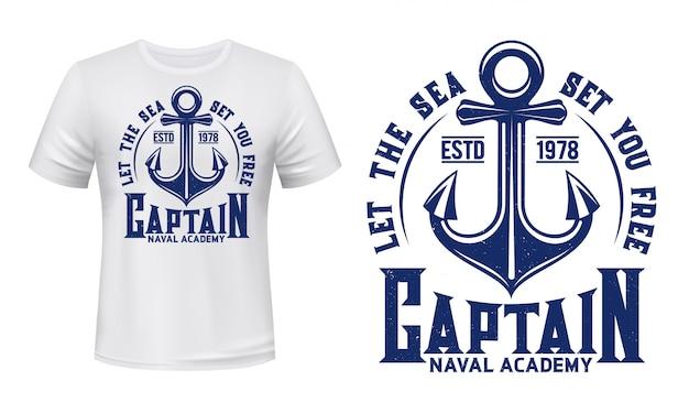 Âncora de navio, impressão náutica marinha de t-shirt