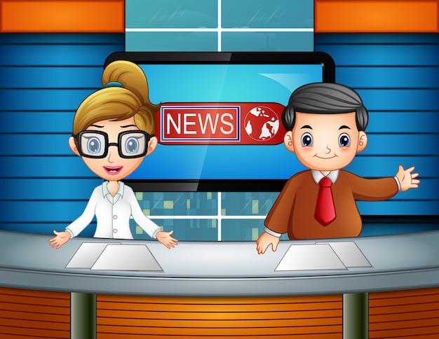 Âncora de notícias na televisão