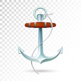 Âncora e corda dos navios isoladas no fundo transparente.