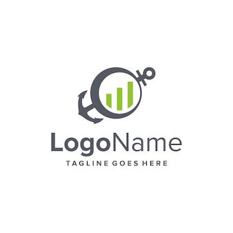 Âncora e gráfico de barras financiam design de logotipo moderno e elegante, criativo e elegante