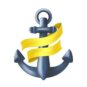 Âncora marítima do metal azul antigo com a fita amarela envolvida em torno dele. náutico antigo símbolo. ilustração do dispositivo de amarração do navio ou atributo de navio pesado isolado no fundo branco