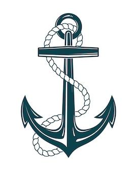 Âncora náutica com corda