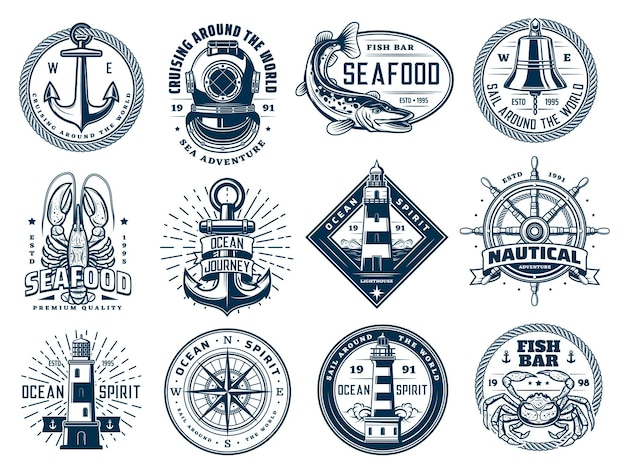 Âncora náutica, leme de navio, farol e peixes, ícones de ondas marinhas ou estampas de camisetas. bússola de navegação marítima, caranguejo-lagosta e placa retro aqualung para clube de mergulho.