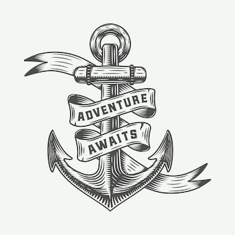 Âncora vintage com tipografia de aventuras.