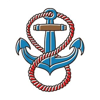 Âncoras com tatuagem de corda