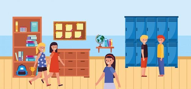 Andando alunos na sala de aula