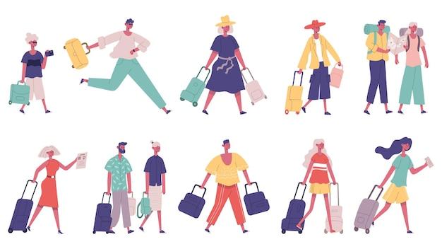 Andando apressado personagens de grupos turísticos masculinos e femininos. turistas no aeroporto com malas, conjunto de ilustração vetorial de malas. personagens de turistas caminhando com ingressos, câmera e mapa