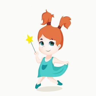 Andando e sonhando menina dos desenhos animados com varinha mágica
