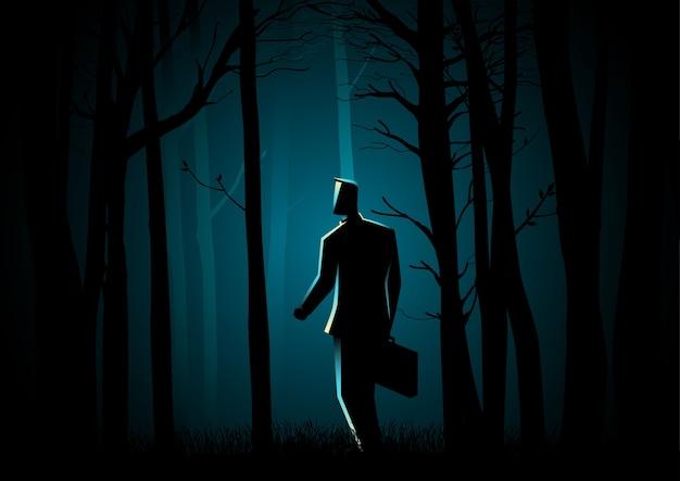 Andando na floresta escura
