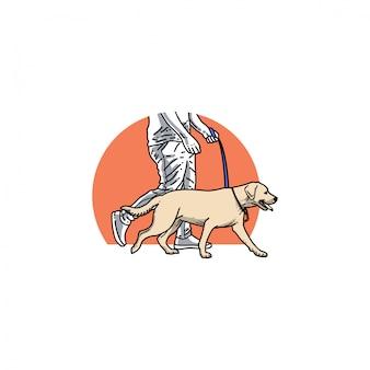 Andar, ao redor, cão, ilustração