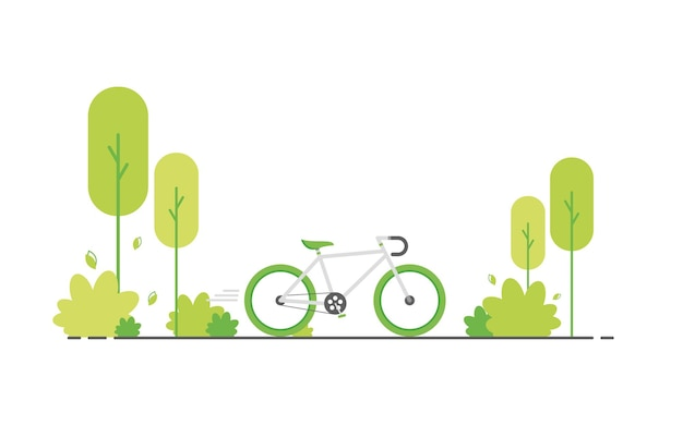 Ande de bicicleta verde na natureza