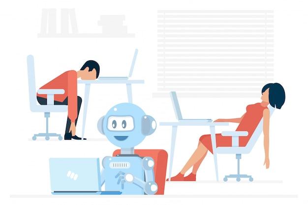 Android positivo trabalhador usando laptop perto de homem e mulher exaustos na ilustração do escritório.