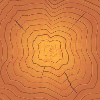 Anéis de árvore marrom brilhante, ilustração realista quadrada