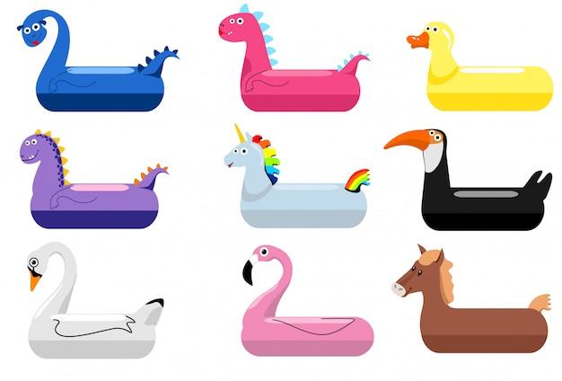 Anéis de boia de piscina de animais. crianças nadando anéis com cabeças de animais. pato flutuante de água de bebê e flamingo, dinossauros, cisnes, bóias salva-vidas de unicórnios, crianças desenhos animados brinquedos de festa do mar, ilustração