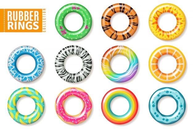 Anéis de borracha. natação brinquedos infláveis para crianças, flutuar anel salva-vidas colorido. conjunto realista