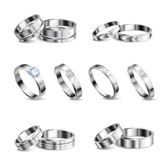 Anéis de casamento de metais nobres platina de ouro branco 6 conjuntos realistas isolados jóias sombra ilustração de fundo neutro