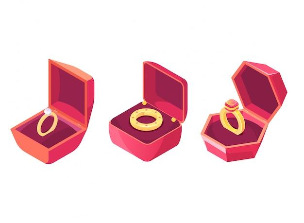 Anéis de casamento em vetor isométrico de casos de luxo