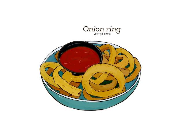 Anéis de cebola, mão ilustrações desenhadas.