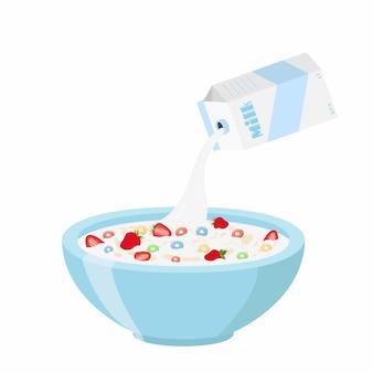 Anéis de cereais com morango, leite no café da manhã de aveia