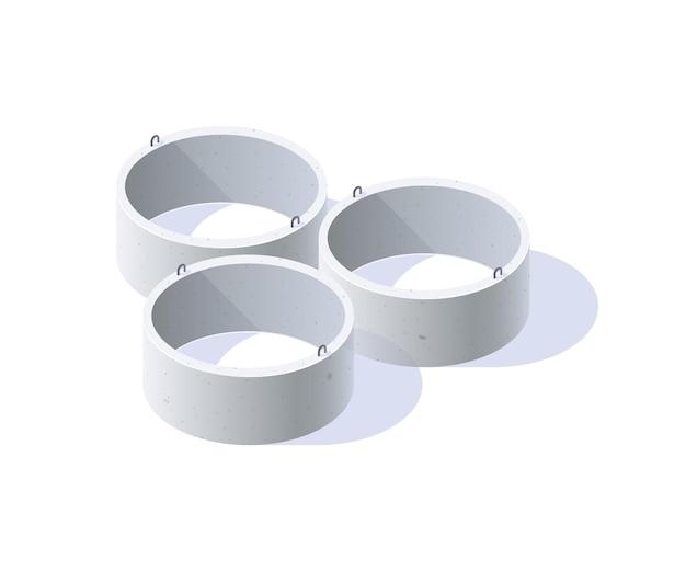 Anéis de concreto para poços, esgotos, fossas sépticas em vista isométrica