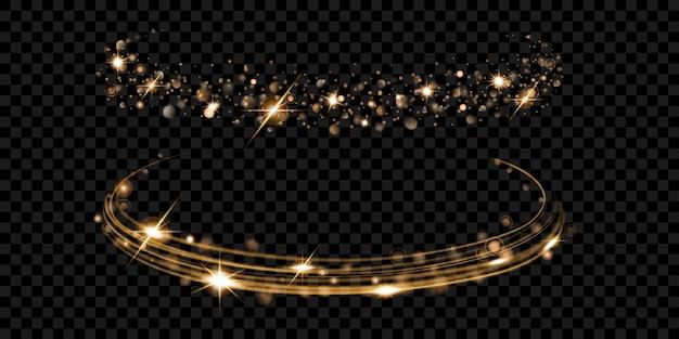 Anéis de fogo brilhantes com glitter em cores douradas em transparentes