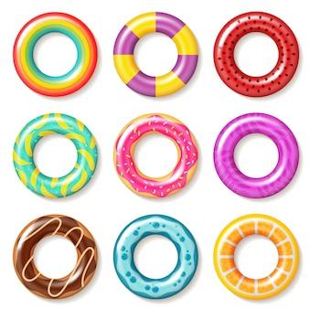 Anéis de natação. bóia colorida anel de natação