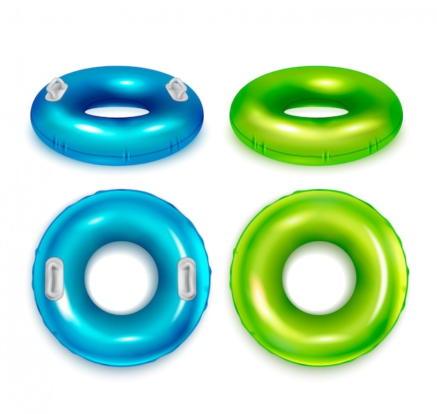 Anéis de natação de borracha coloridos modernos infláveis conjunto realista vista superior e lateral azul verde isolado